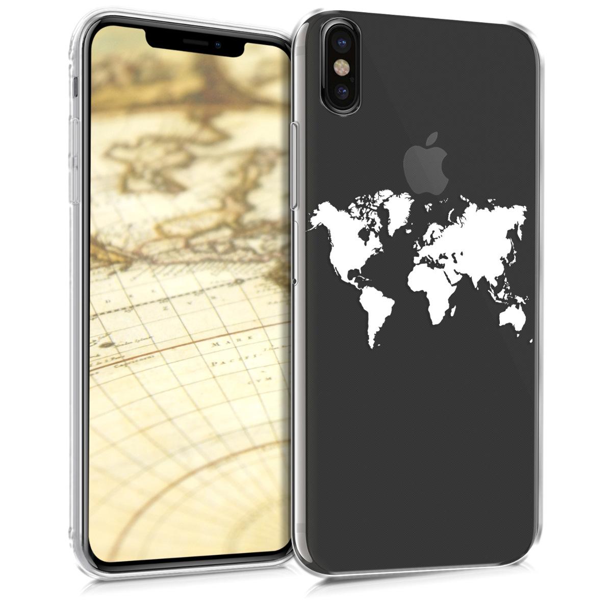 Kvalitní silikonové TPU pouzdro pro Apple iPhone XS Max - Travel Outline White | Transparent