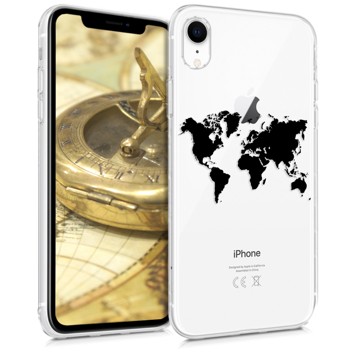 Kvalitní silikonové TPU pouzdro pro Apple iPhone XR - Travel Outline Black | Transparent