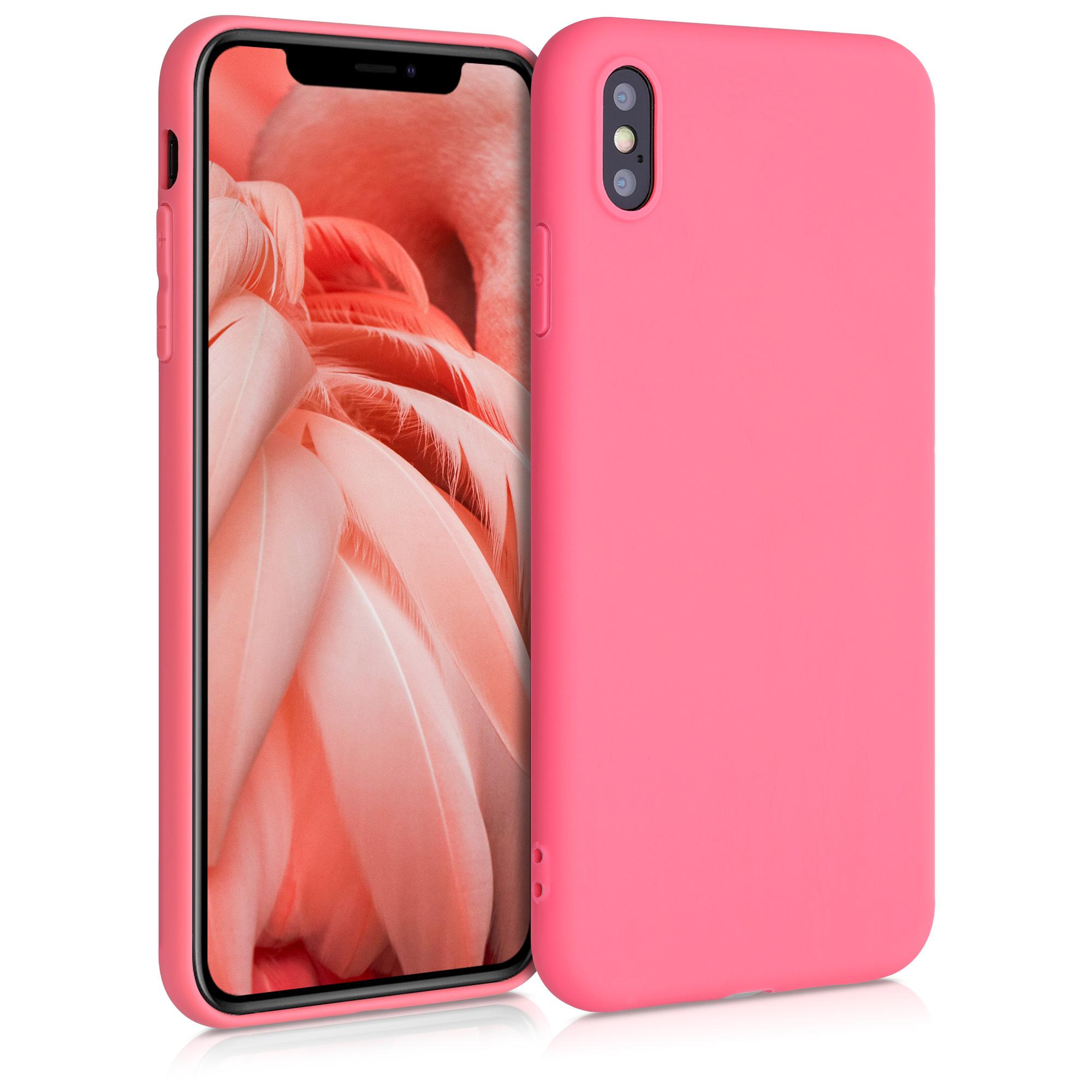 Kvalitní silikonové TPU pouzdro pro Apple iPhone XS Max - Neon Coral Matte