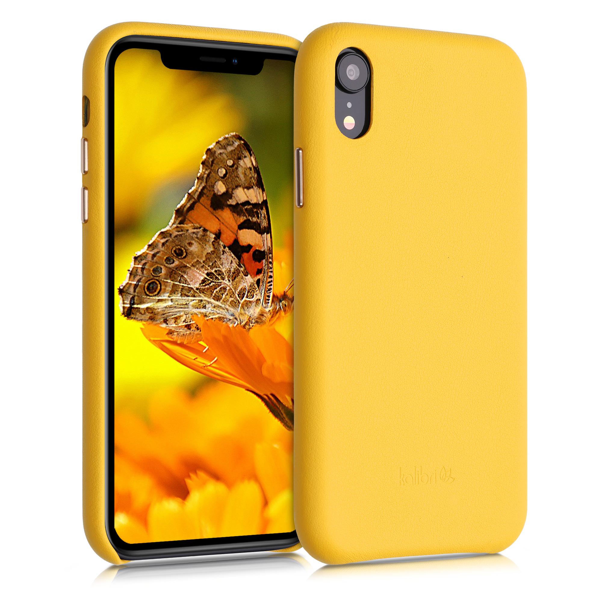 Kožené pouzdro pro Apple iPhone XR - Žlutá