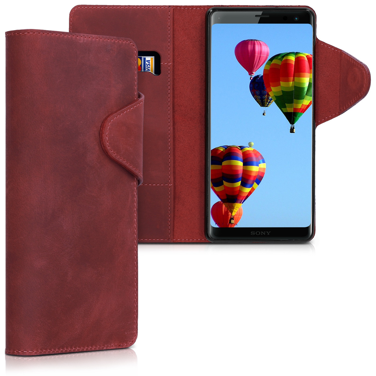 Kožené pouzdro | obal pro Sony Xperia XZ3 - tmavě červená