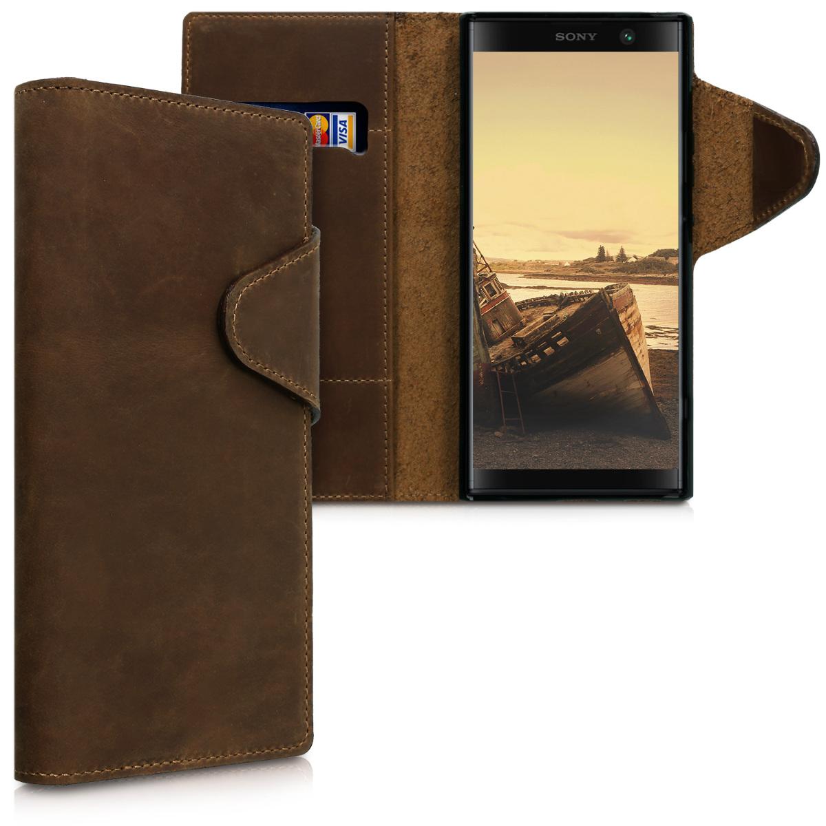 Kožené pouzdro | obal pro Sony Xperia XA2 Plus - hnědé