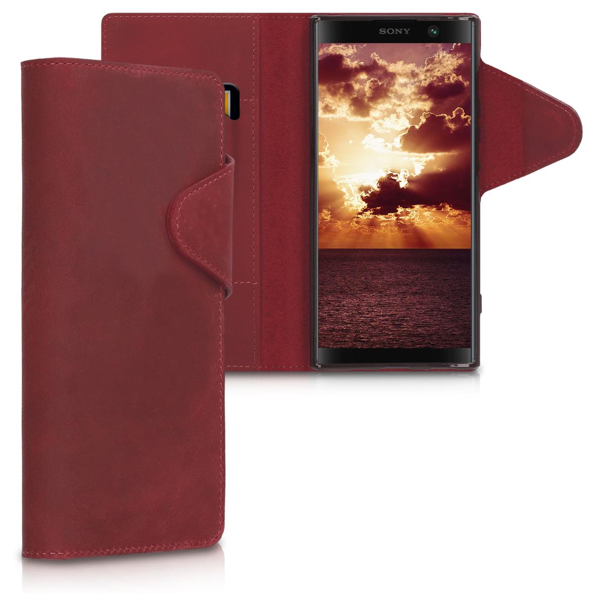 Kožené pouzdro | obal pro Sony Xperia XA2 Plus - tmavě červená