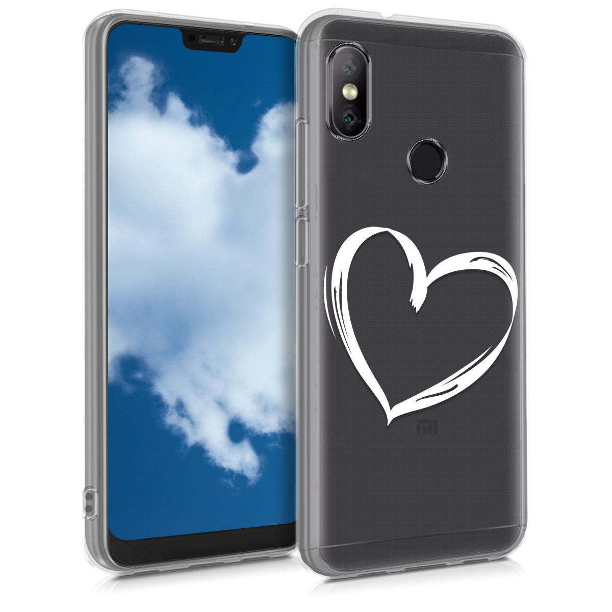 Kvalitní silikonové TPU pouzdro | obal pro Xiaomi Redmi 6 Pro | Mi A2 Lite - Brushed Heart bílý / transparentní
