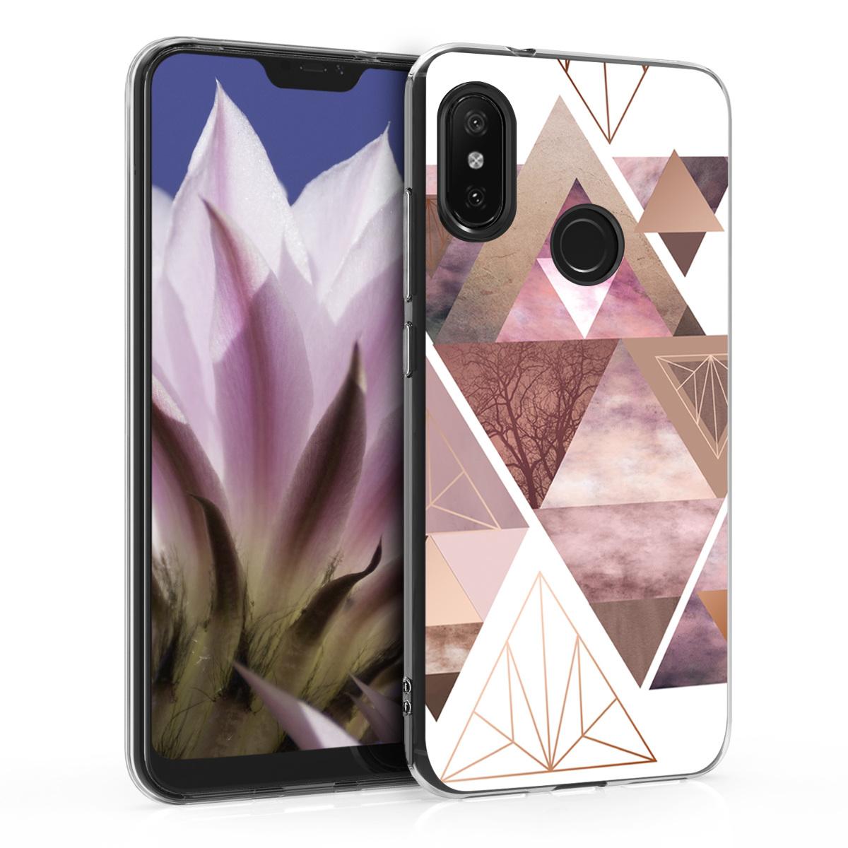 Kvalitní silikonové TPU pouzdro | obal pro Xiaomi Redmi 6 Pro | Mi A2 Lite - Patchwork trojúhelníky Light růžový / starorůžový růžovýgold / bílý