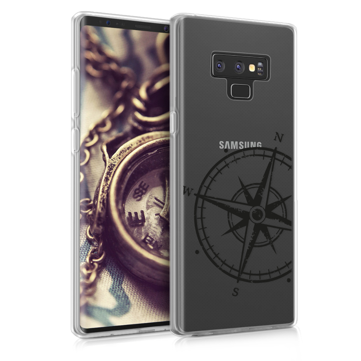 Kvalitní silikonové TPU pouzdro pro Samsung Note 9 - Navigační Compass černé / transparentní