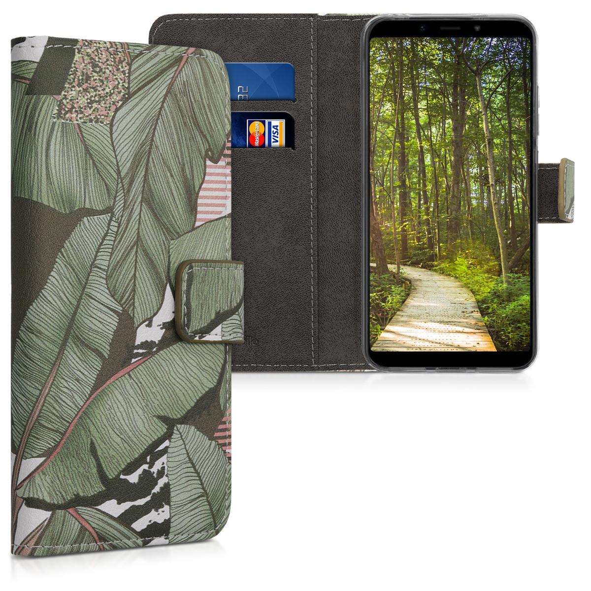 Kožené pouzdro | obal pro Xiaomi Redmi 6 Pro | Mi A2 Lite - džungle Leaves zelený / hnědý / bílý