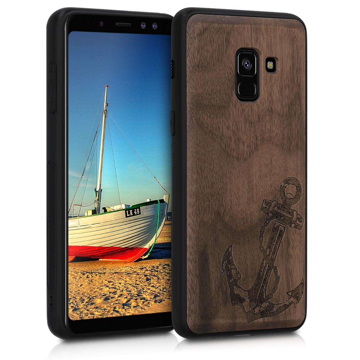 Dřevěné pouzdro pro Samsung A8 (2018) - Vintage Anchor Dark Brown