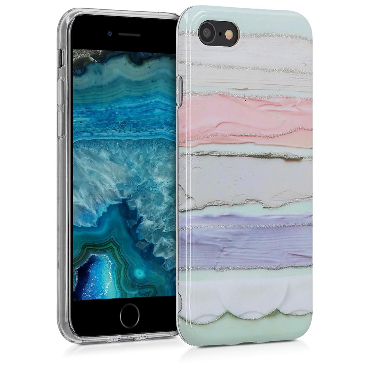 Kvalitní silikonové TPU pouzdro pro Apple iPhone 7 / 8 / SE  - Třpytivé Color Stříknutí Světle růžová | fialová | Mint