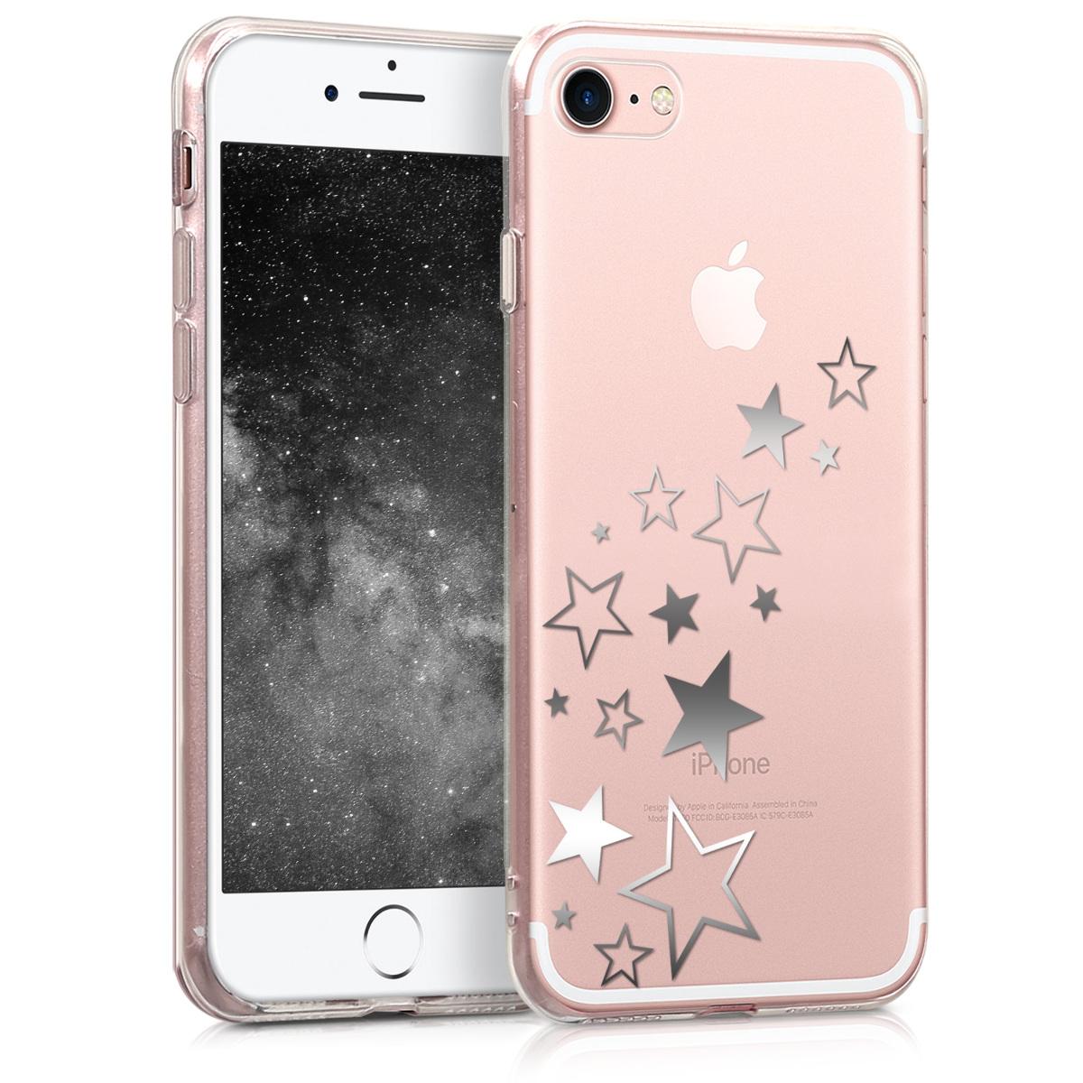 Kvalitní silikonové TPU pouzdro pro Apple iPhone 7 / 8 / SE  - Hvězda Mix Silver | Transparent