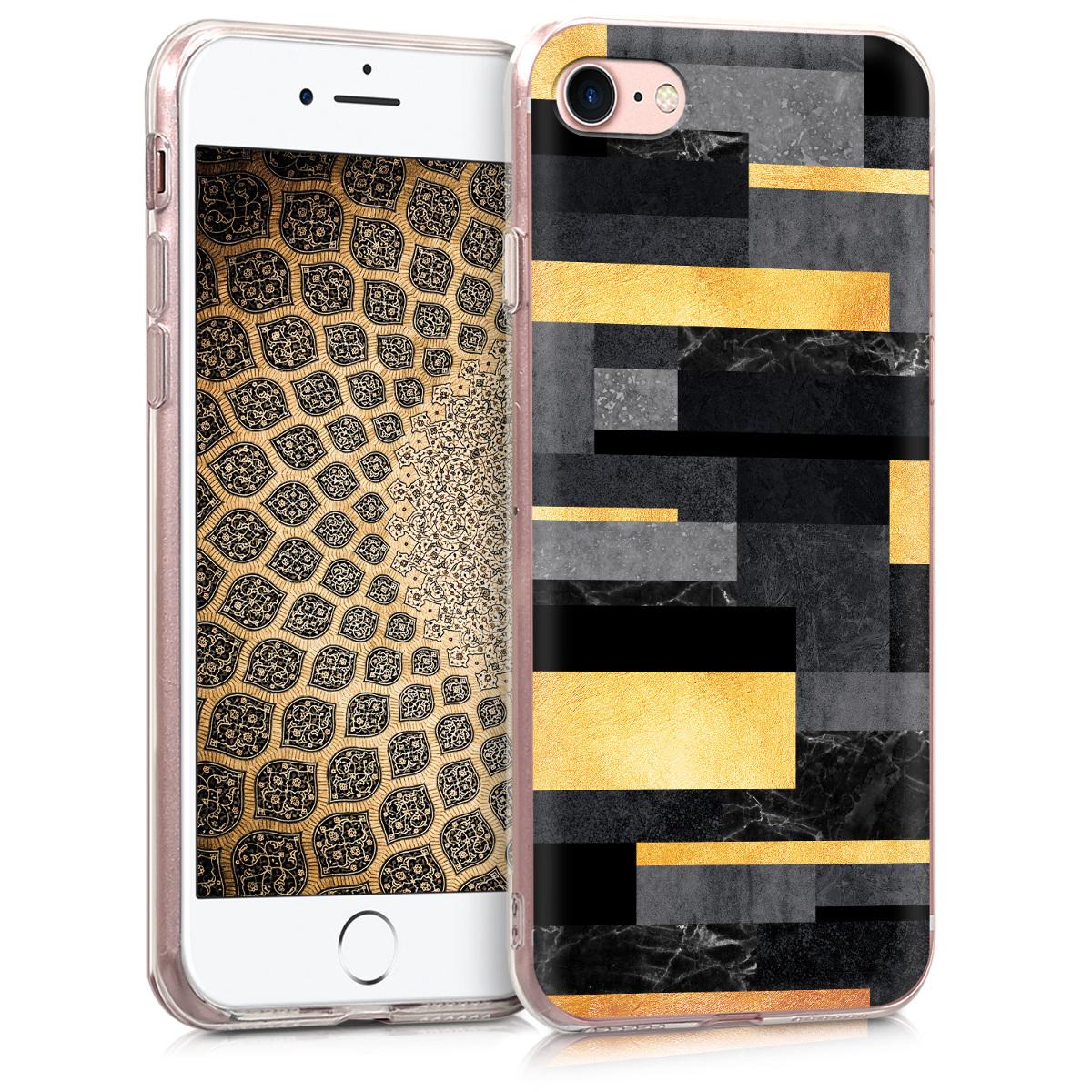 Kvalitní silikonové TPU pouzdro pro Apple iPhone 7 / 8 / SE  - Glory Stripes Gold | tmavě šedá | černá