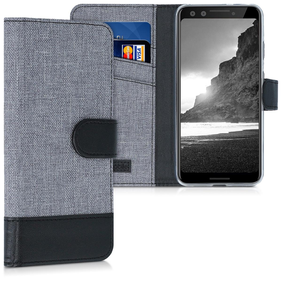 Textilní látkové pouzdro | obal pro Google Pixel 3 - Šedá / černá