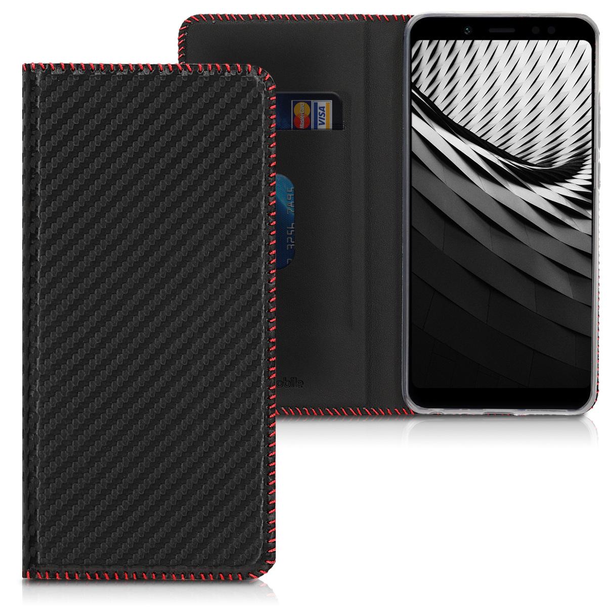 Kožené pouzdro | obal pro Xiaomi Redmi Note 5 (Global Vers - Carbon černý / červený