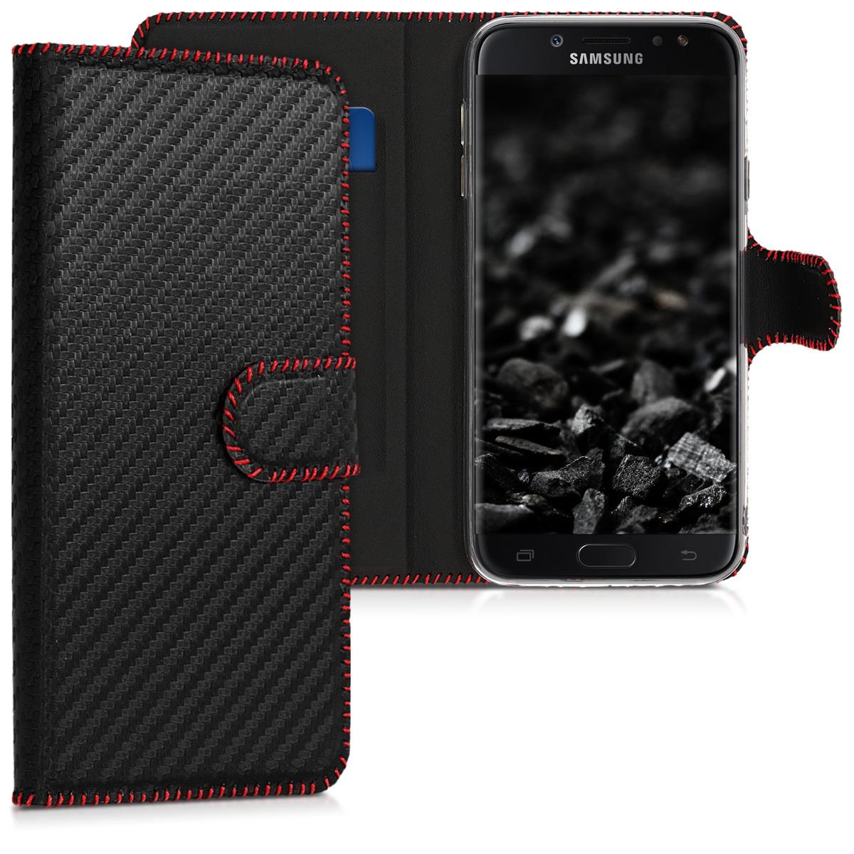 Kožené pouzdro pro Samsung J7 (2017) DUOS - Carbon černé / červené