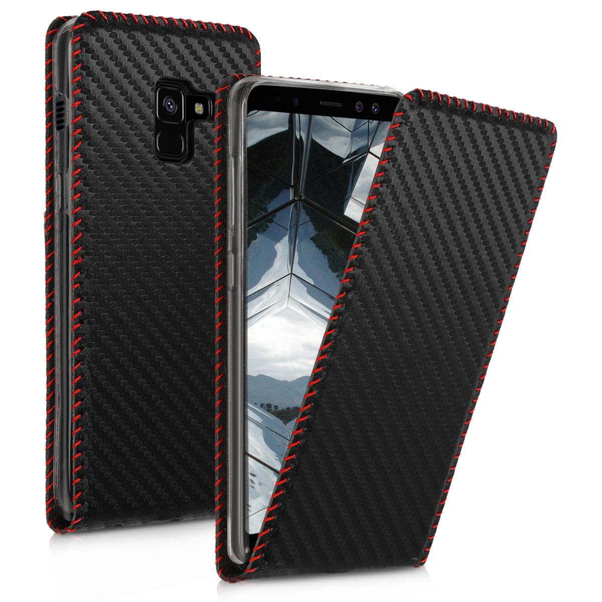 Kožené pouzdro pro Samsung A8 (2018) - Carbon černé / červené