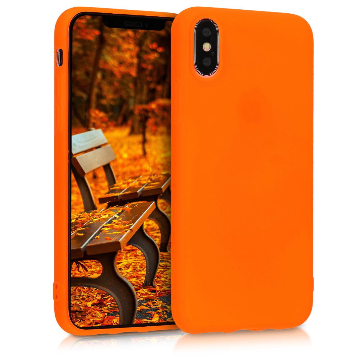 Kvalitní silikonové TPU pouzdro pro Apple iPhone XS - Neon Orange