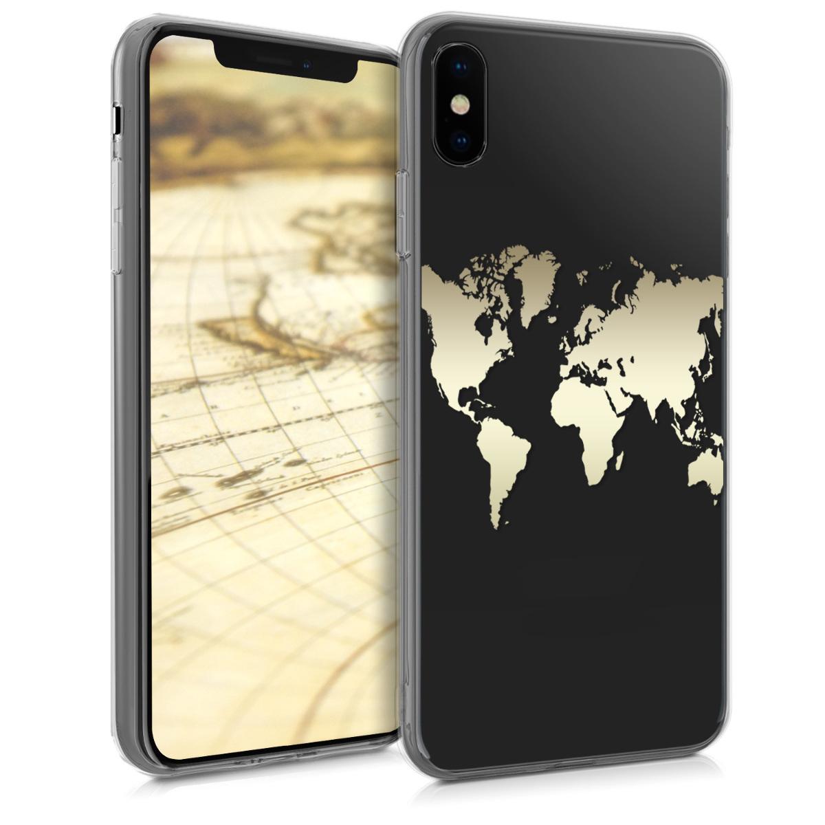 Kvalitní silikonové TPU pouzdro pro Apple iPhone XS - Travel Outline Gold | Transparent