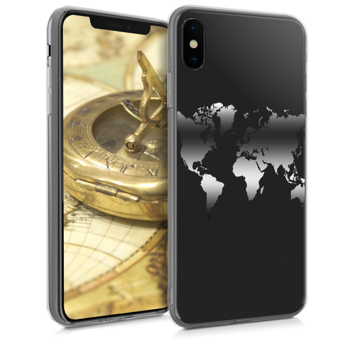 Kvalitní silikonové TPU pouzdro pro Apple iPhone XS - Travel Outline Silver | Transparent