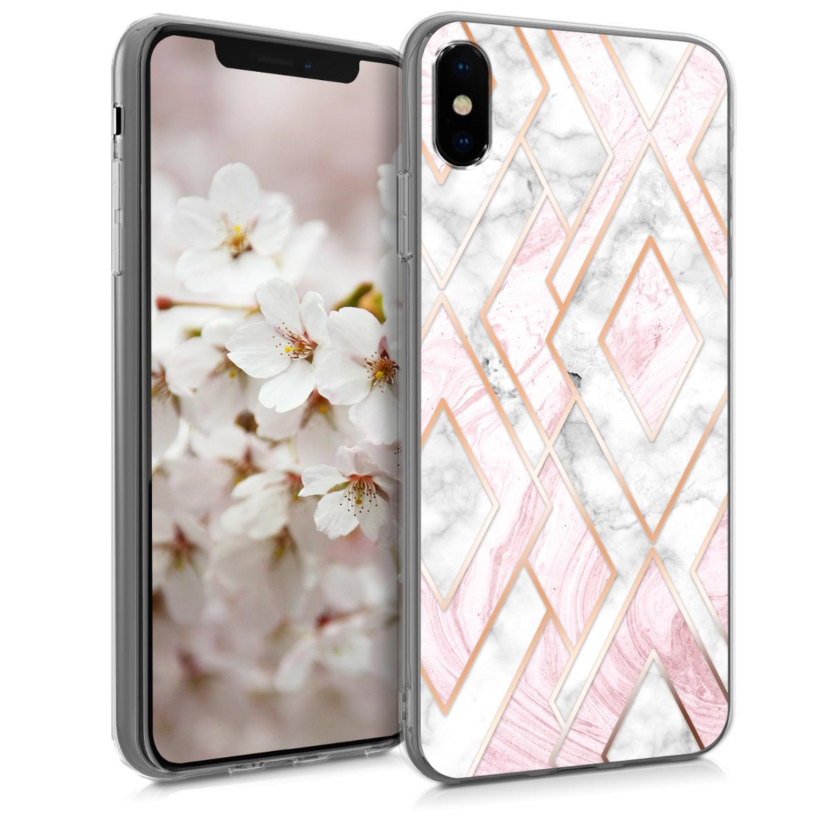 Kvalitní silikonové TPU pouzdro pro Apple iPhone XS - Glory Mix 2 Rose Gold | White | Pink Dusty