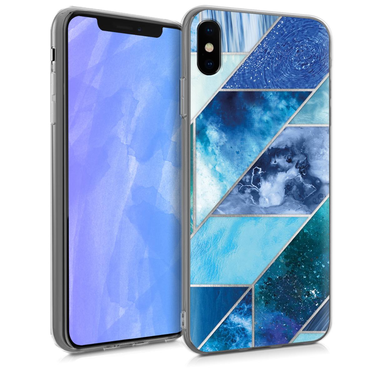 Kvalitní silikonové TPU pouzdro pro Apple iPhone XS - Geometrické vzory modrá | Turquoise | Silver