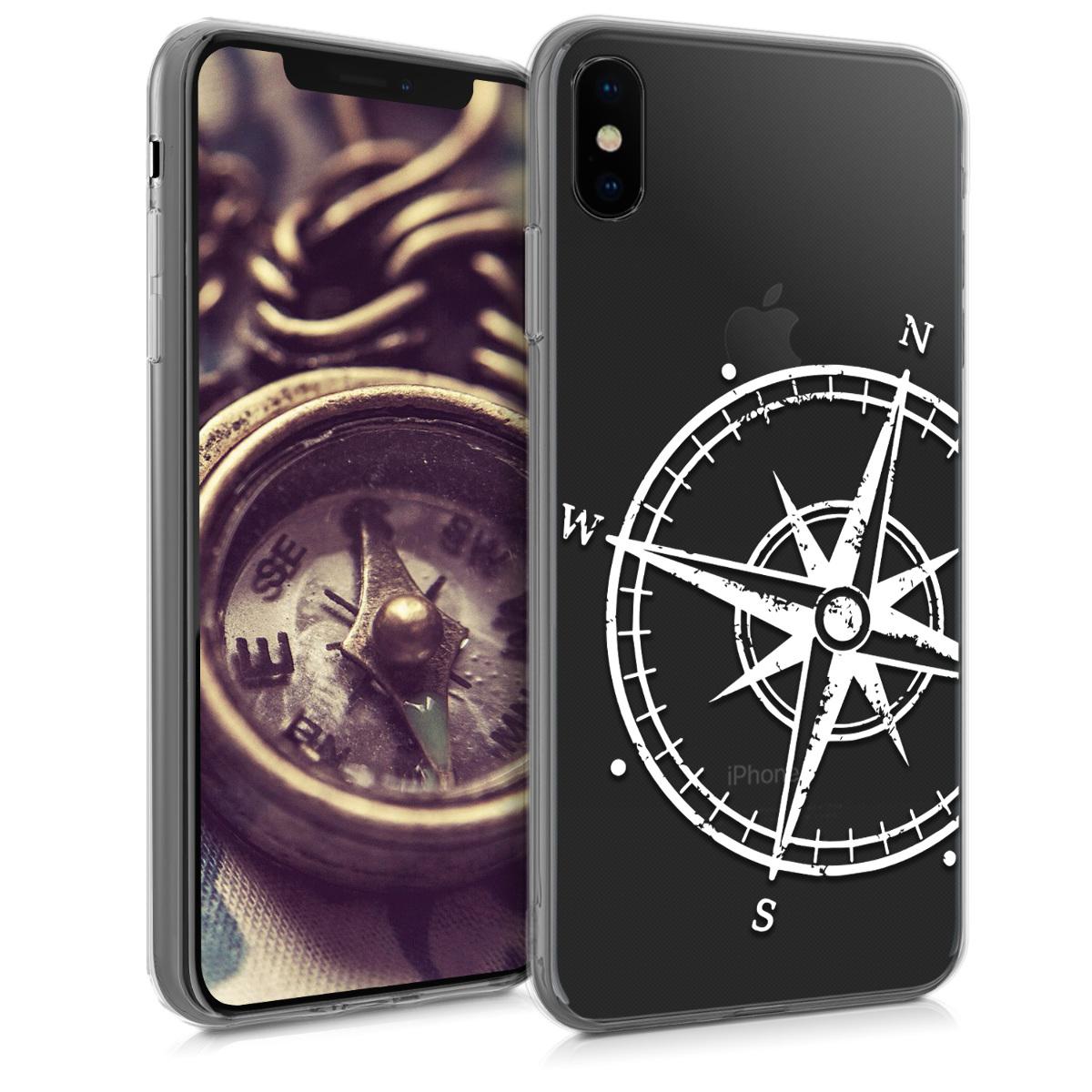 Kvalitní silikonové TPU pouzdro pro Apple iPhone XS - Navigační Compass White | Transparent