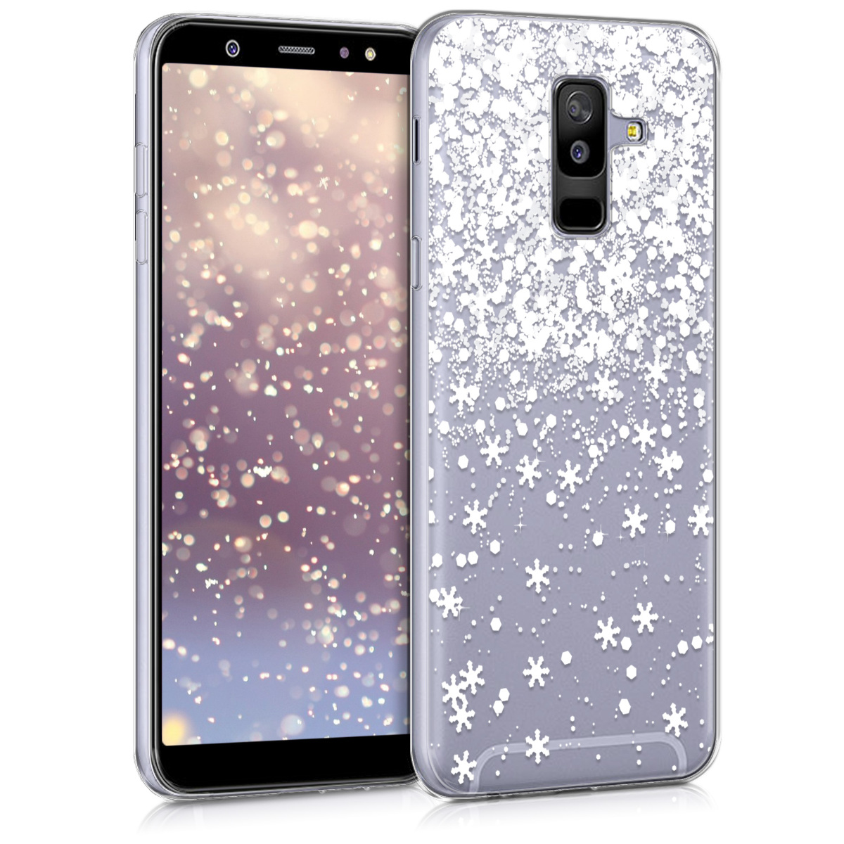Kvalitní silikonové TPU pouzdro pro Samsung A6+|A6 Plus (2018) - Třpytivé vločky bílé / transparentní