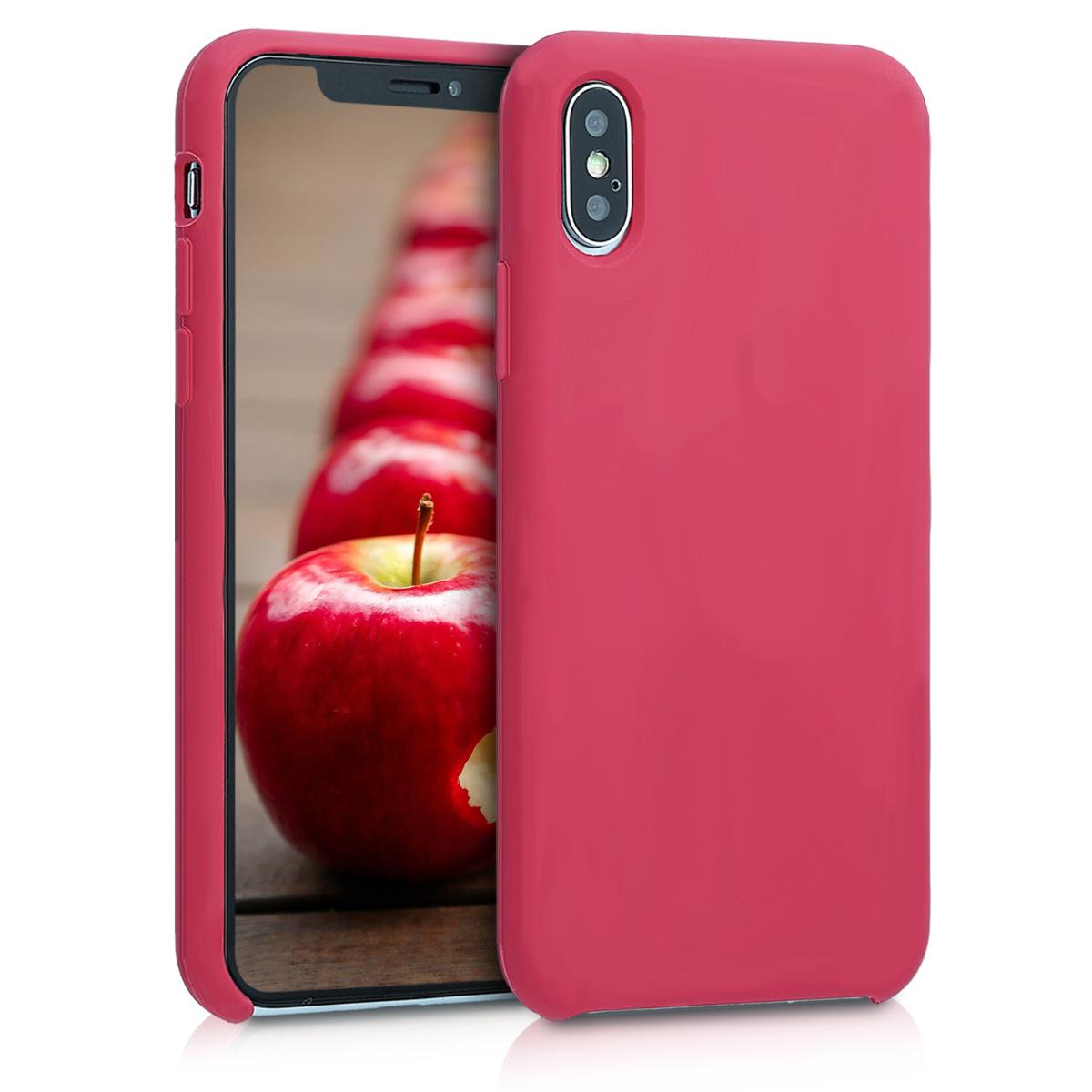 Kvalitní silikonové TPU pouzdro pro Apple iPhone XS - Fuchsia | Red