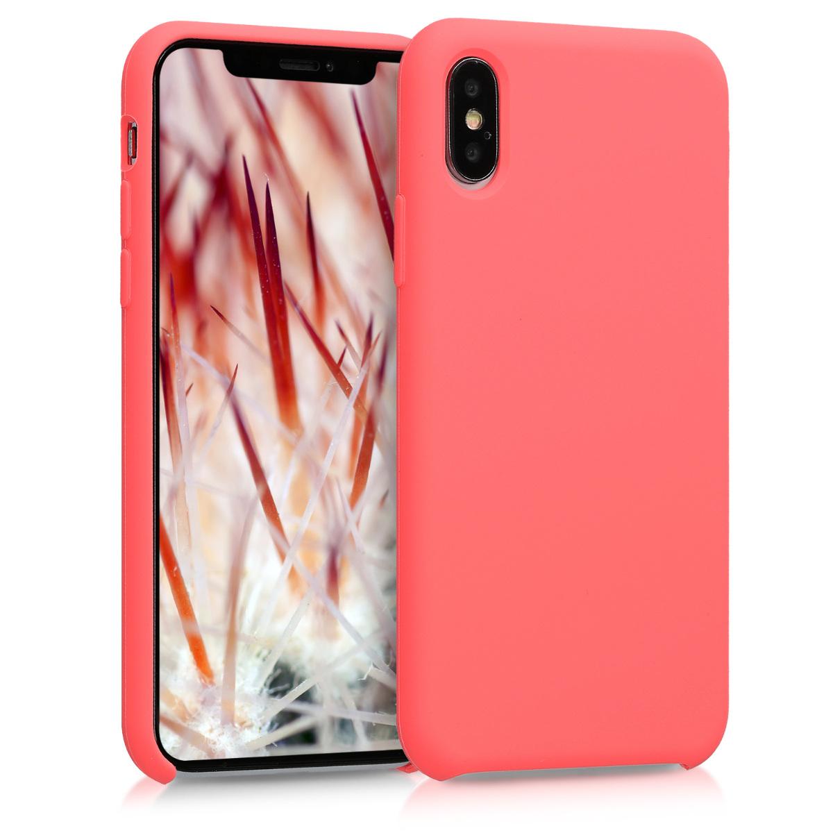 Kvalitní silikonové TPU pouzdro pro Apple iPhone XS - Neon Coral