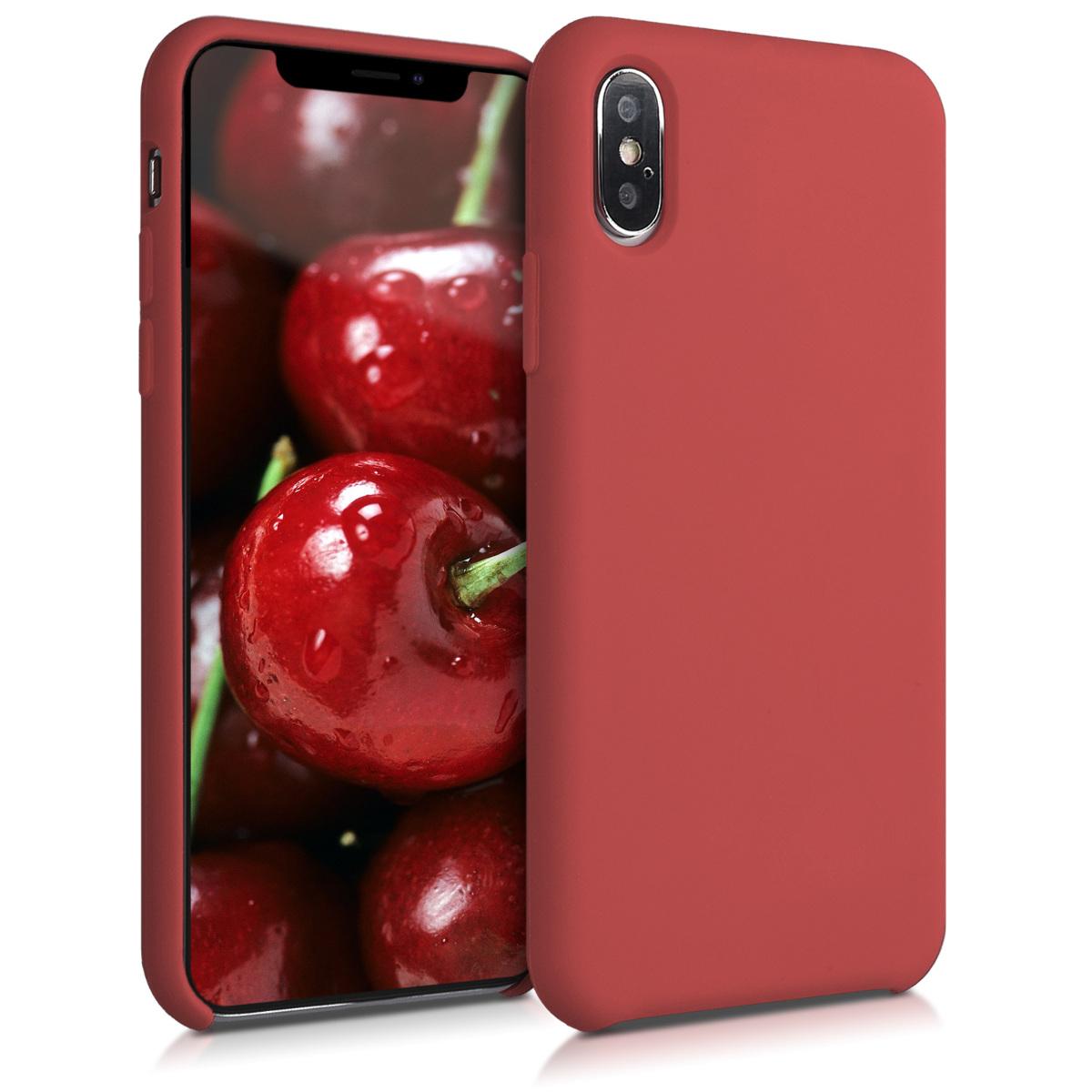 Kvalitní silikonové TPU pouzdro pro Apple iPhone XS - Tmavě červená