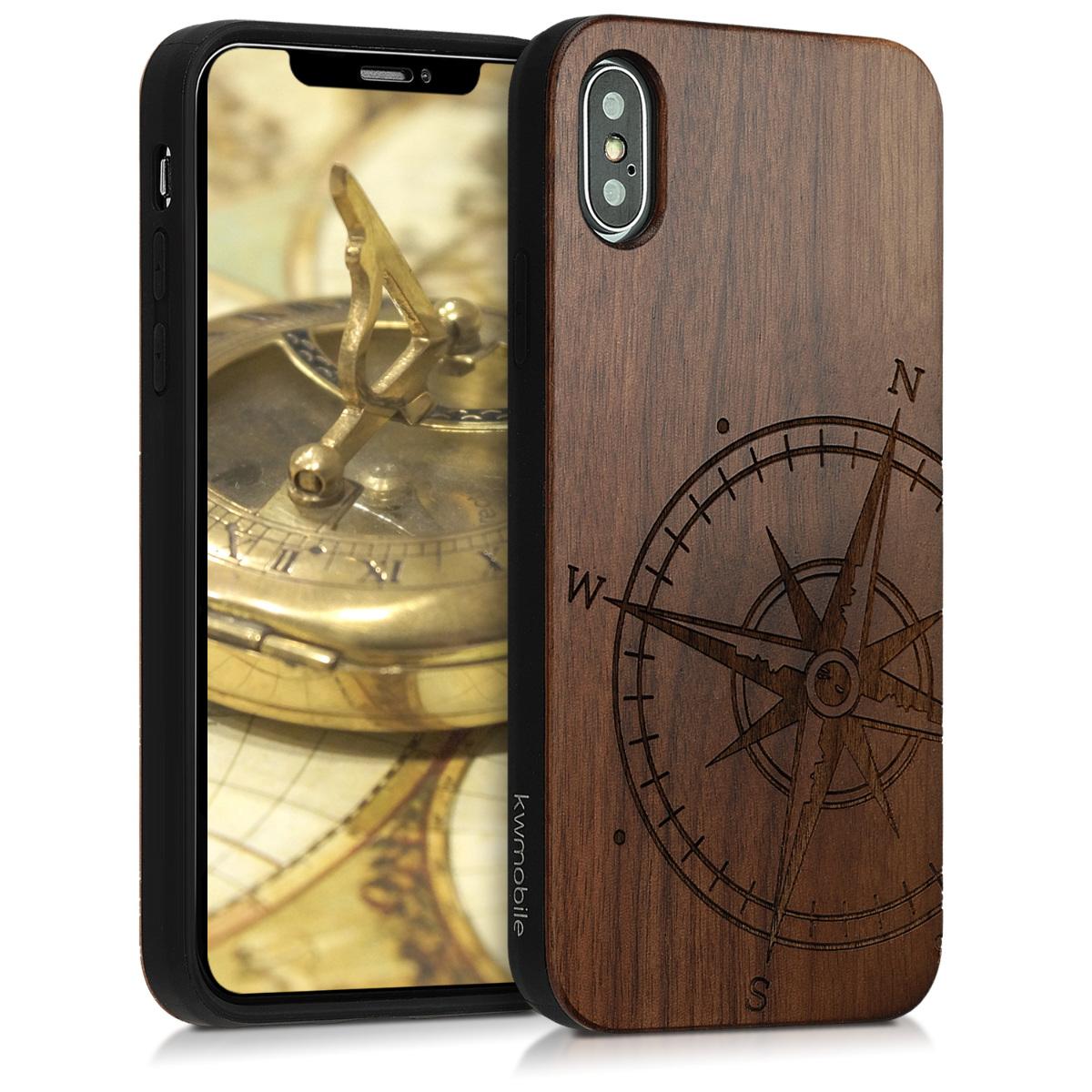 Dřevěné pouzdro pro Apple iPhone XS - Navigační Compass Dark Brown