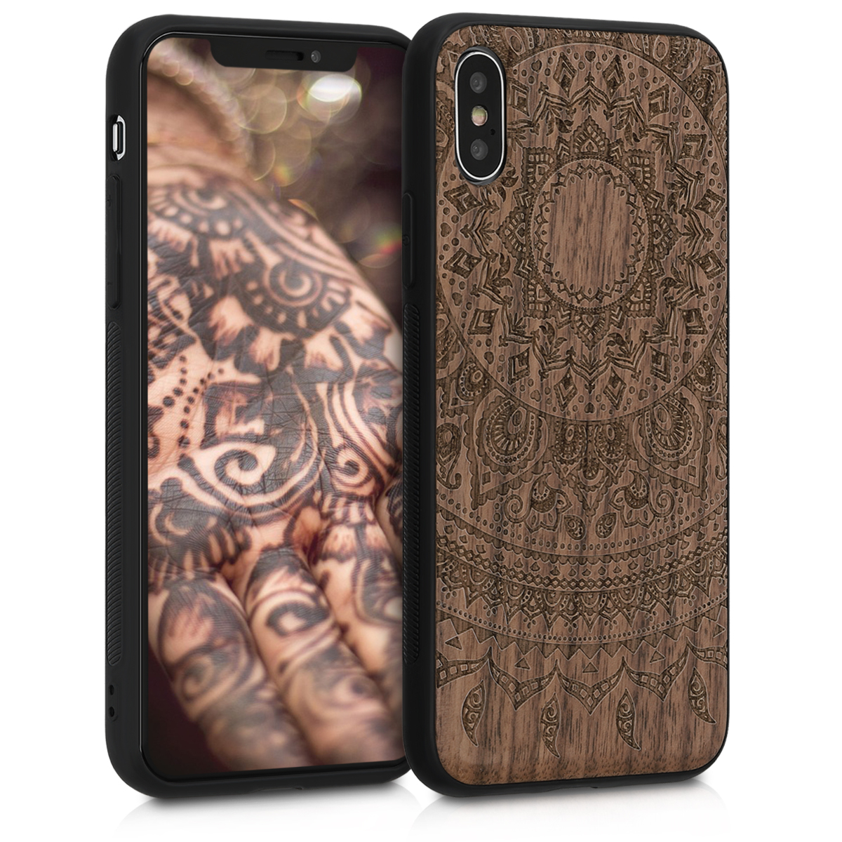 Dřevěné pouzdro pro Apple iPhone XS - Indické Sun Dark Brown