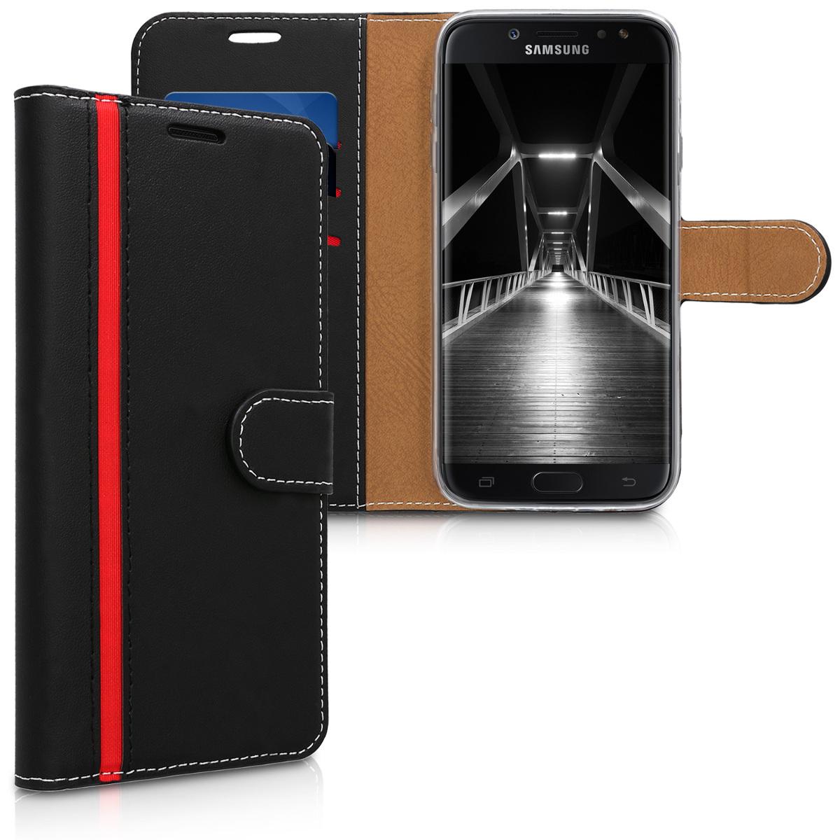 Kožené pouzdro pro Samsung J7 (2017) DUOS - černé červená