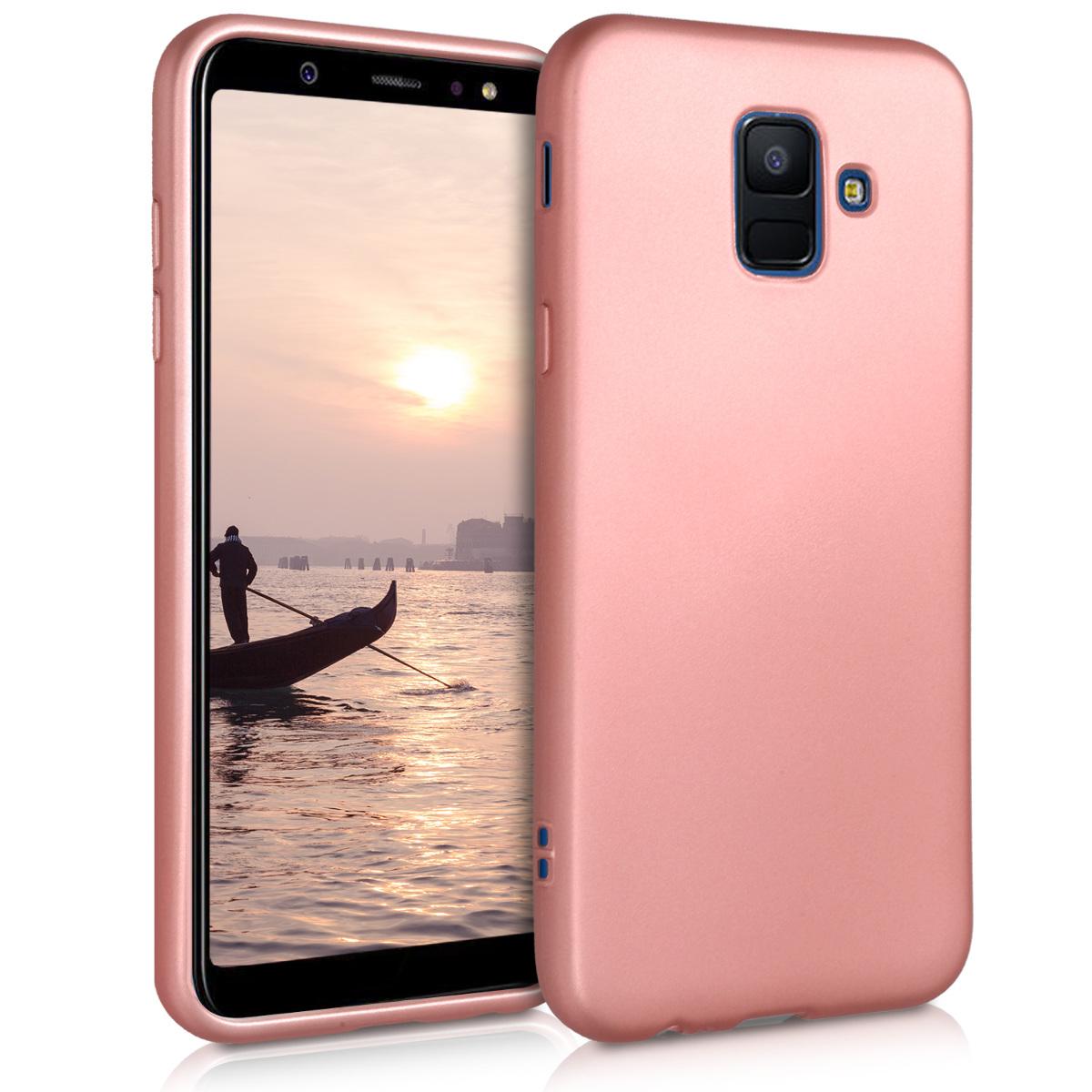 Kvalitní silikonové TPU pouzdro pro Samsung A6 (2018) - metalické starorůžové rosegold