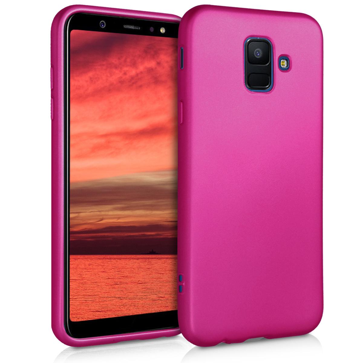 Kvalitní silikonové TPU pouzdro pro Samsung A6 (2018) - metalické růžové