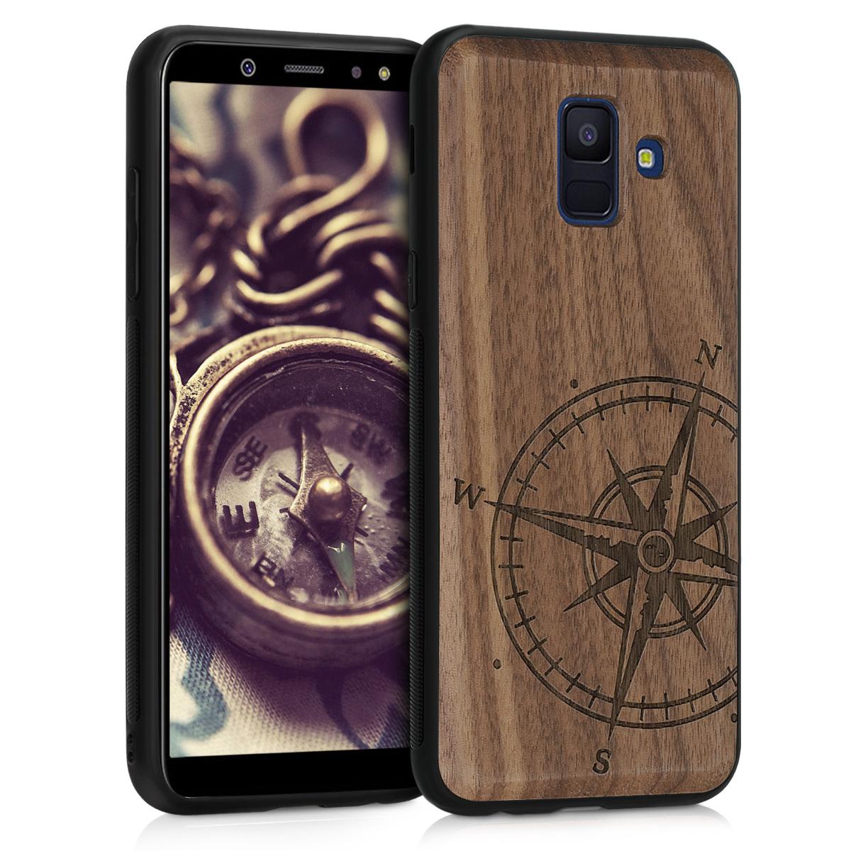 Dřevěné pouzdro pro Samsung A6 (2018) - Navigační Compass Dark Brown