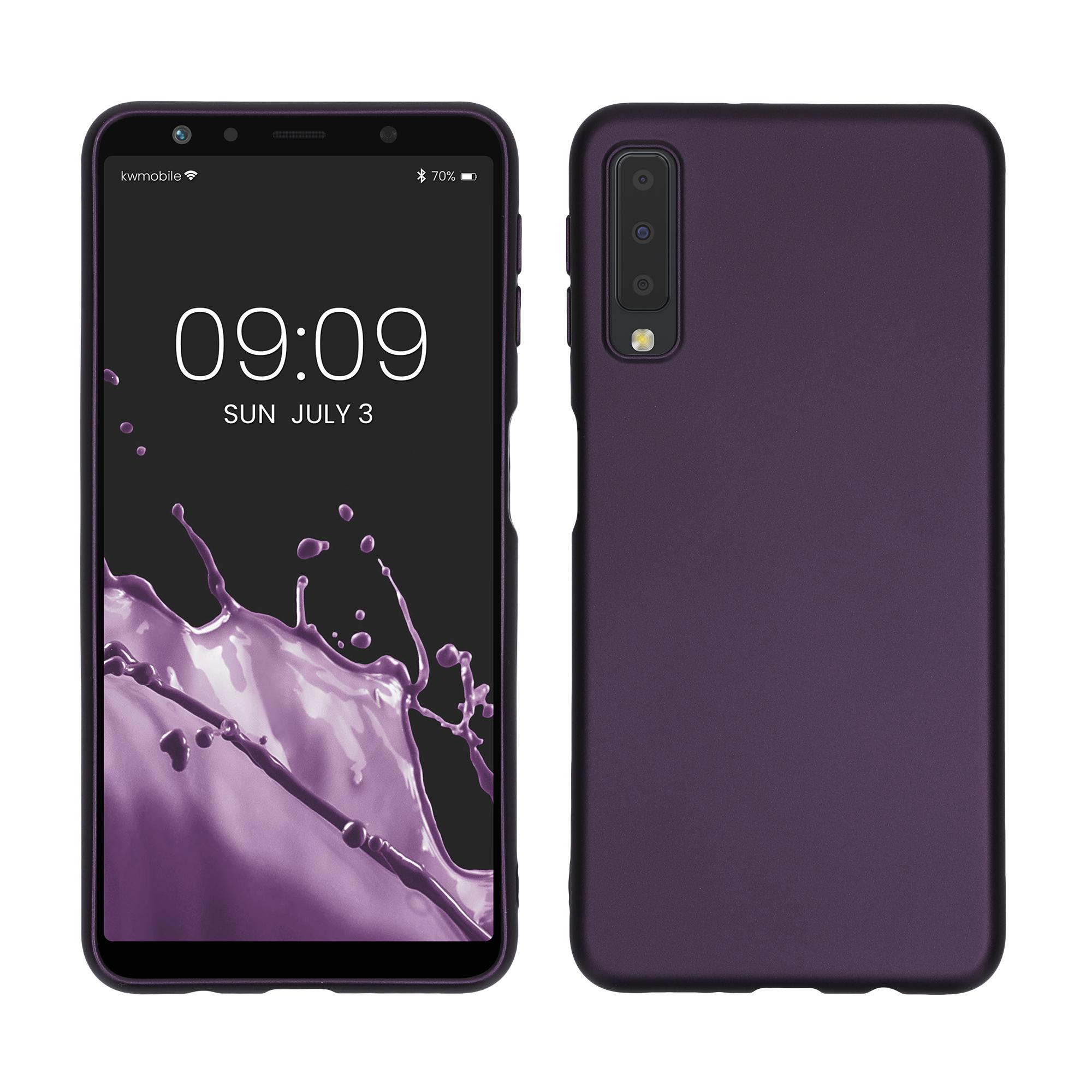 Kvalitní silikonové TPU pouzdro pro Samsung A7 (2018) - metalické Berry