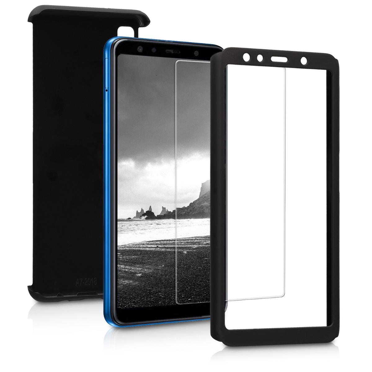 Kvalitní plastové pouzdro pro Samsung A7 (2018) - metalické černé