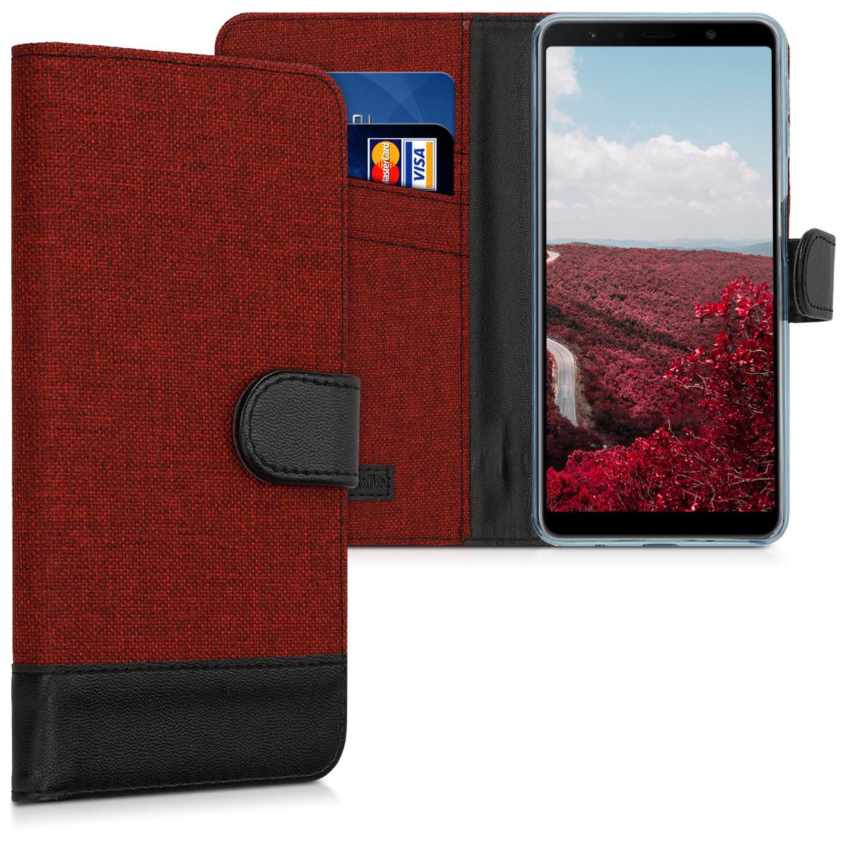 Fabricpouzdro pro Samsung A7 (2018) - tmavě červené / černé