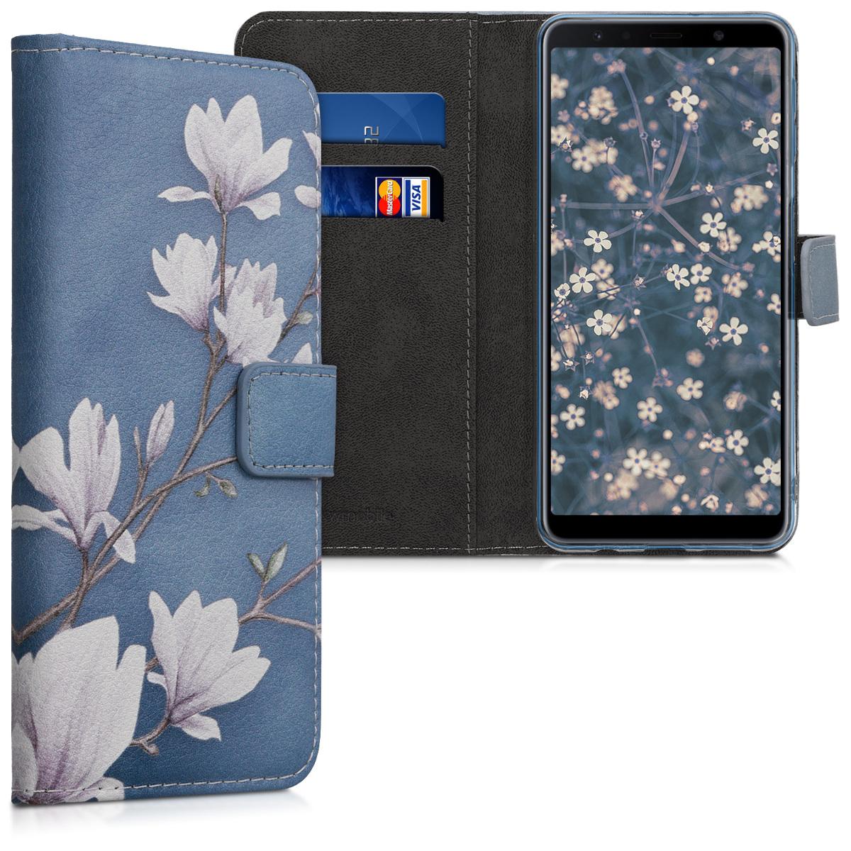 Kožené pouzdro pro Samsung A7 (2018) - Magnolie Taupe / bílá / modré šedé
