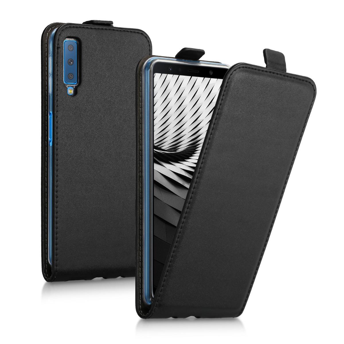 Kožené pouzdro pro Samsung A7 (2018) - černé