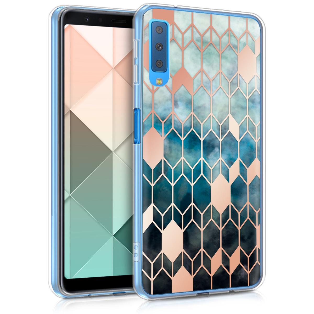 Kvalitní silikonové TPU pouzdro pro Samsung A7 (2018) - Glory modré / starorůžové rosegold