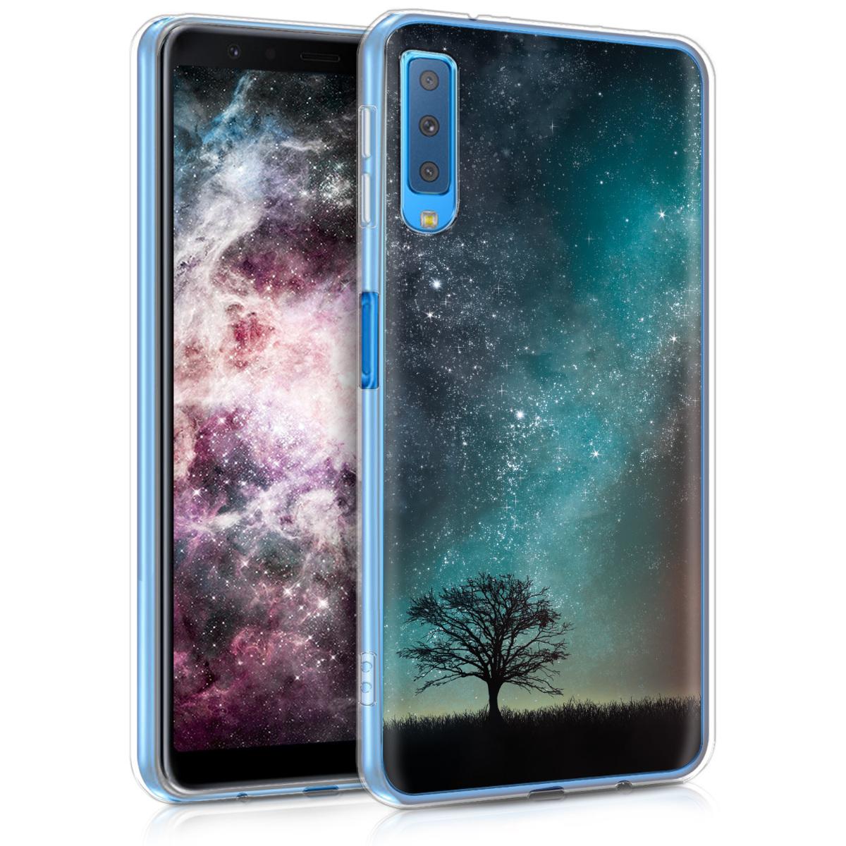 Kvalitní silikonové TPU pouzdro pro Samsung A7 (2018) - kosmické přírodní modré / šedé / černé
