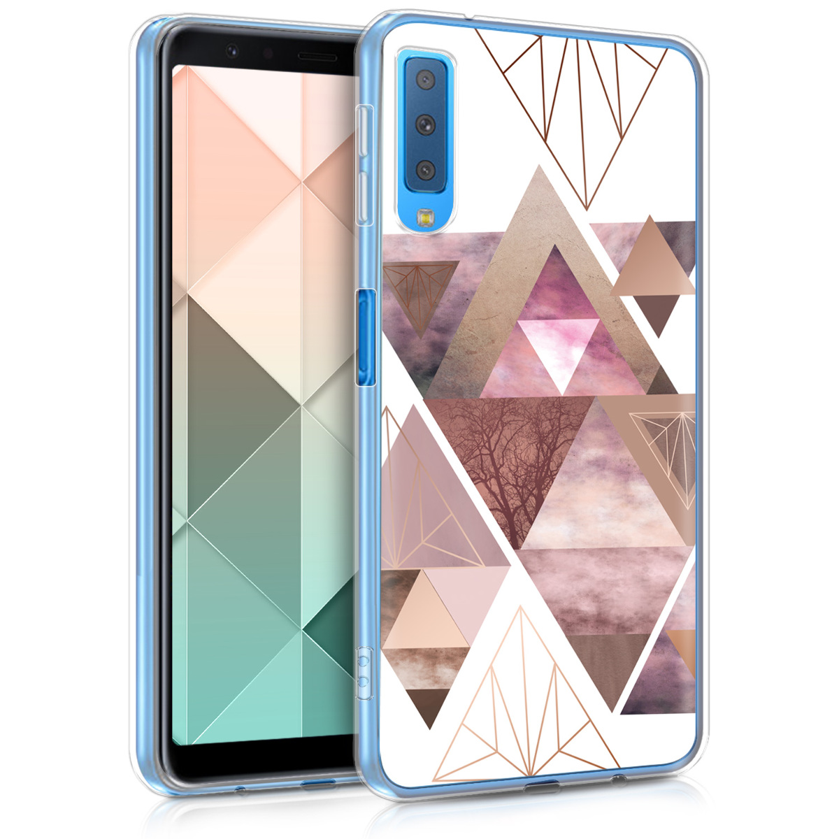 Kvalitní silikonové TPU pouzdro pro Samsung A7 (2018) - Patchwork trojúhelníky světle růžové / starorůžové rosegold / bílé