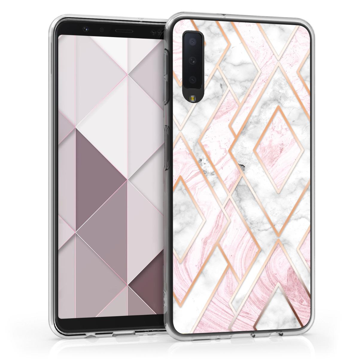 Kvalitní silikonové TPU pouzdro pro Samsung A7 (2018) - Glory Mix 2 starorůžové rosegold / bílé / růžové Dusty