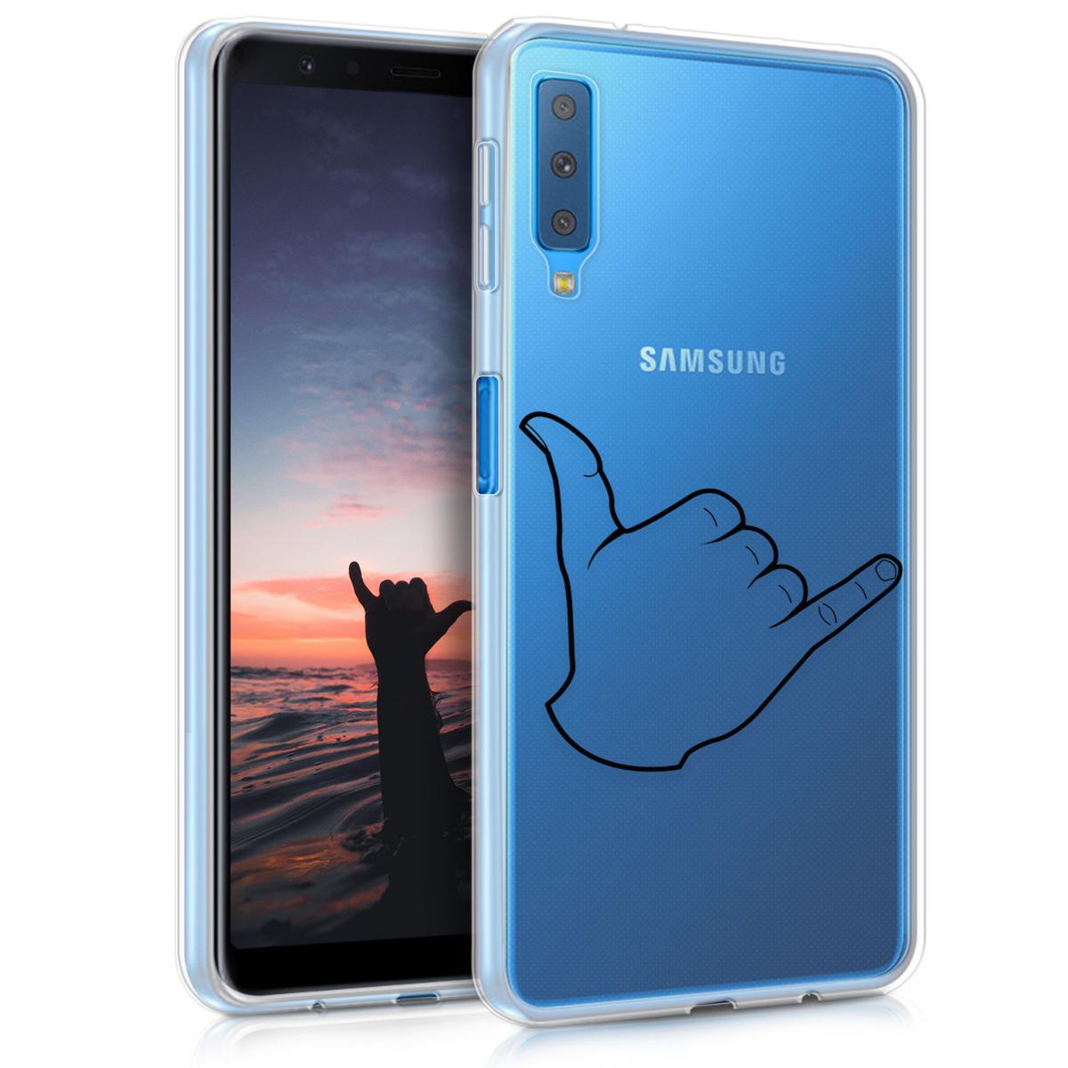 Kvalitní silikonové TPU pouzdro pro Samsung A7 (2018) - Shaka černé / transparentní
