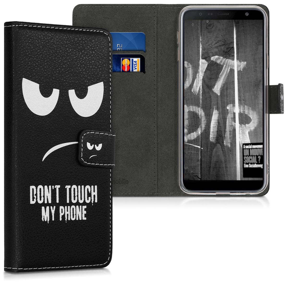 Kožené pouzdro pro Samsung J4+ | J4 Plus DUOS - Nedotýkejte My Phone bílé / černé