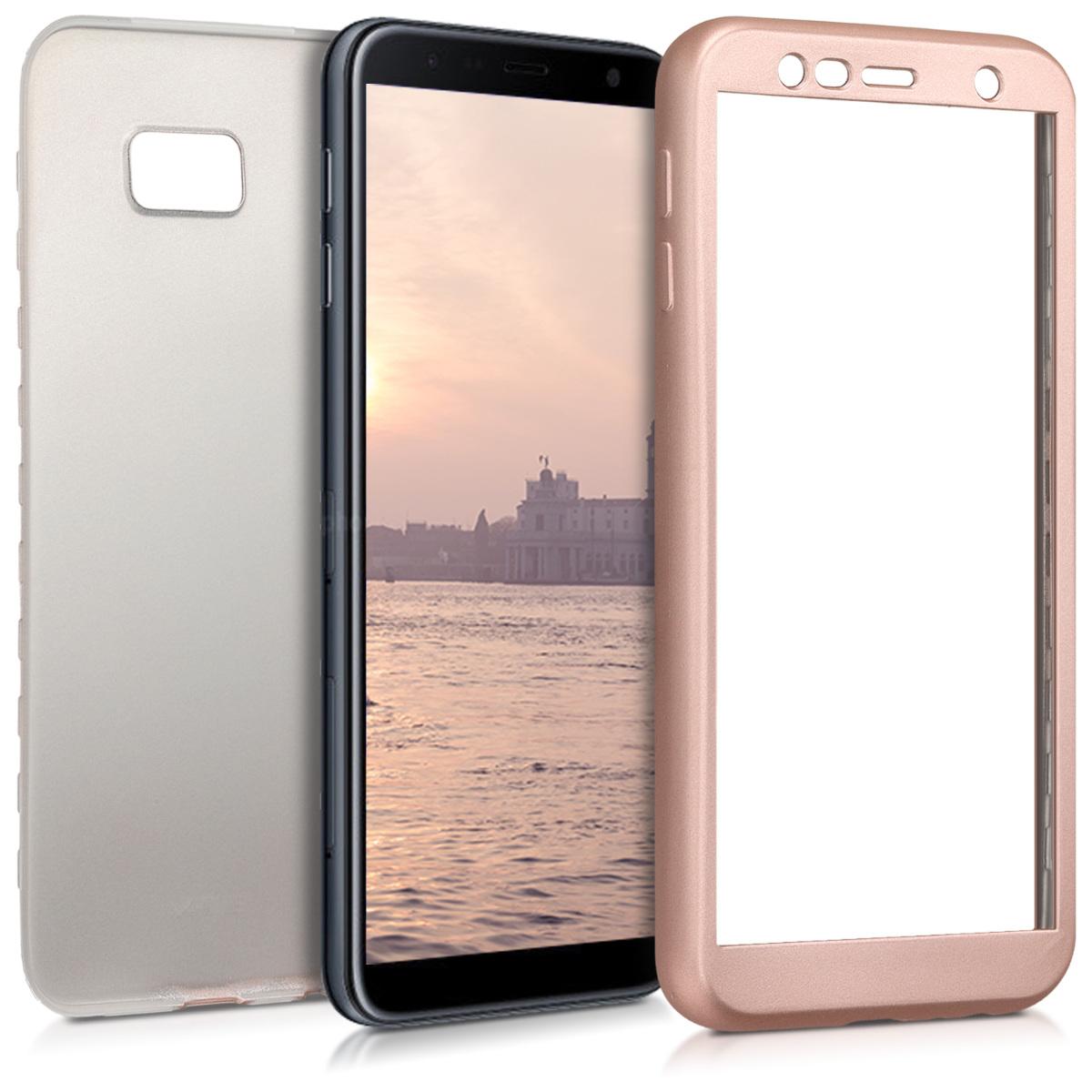 Kvalitní silikonové TPU pouzdro pro Samsung J4+ | J4 Plus DUOS - metalické starorůžové rosegold