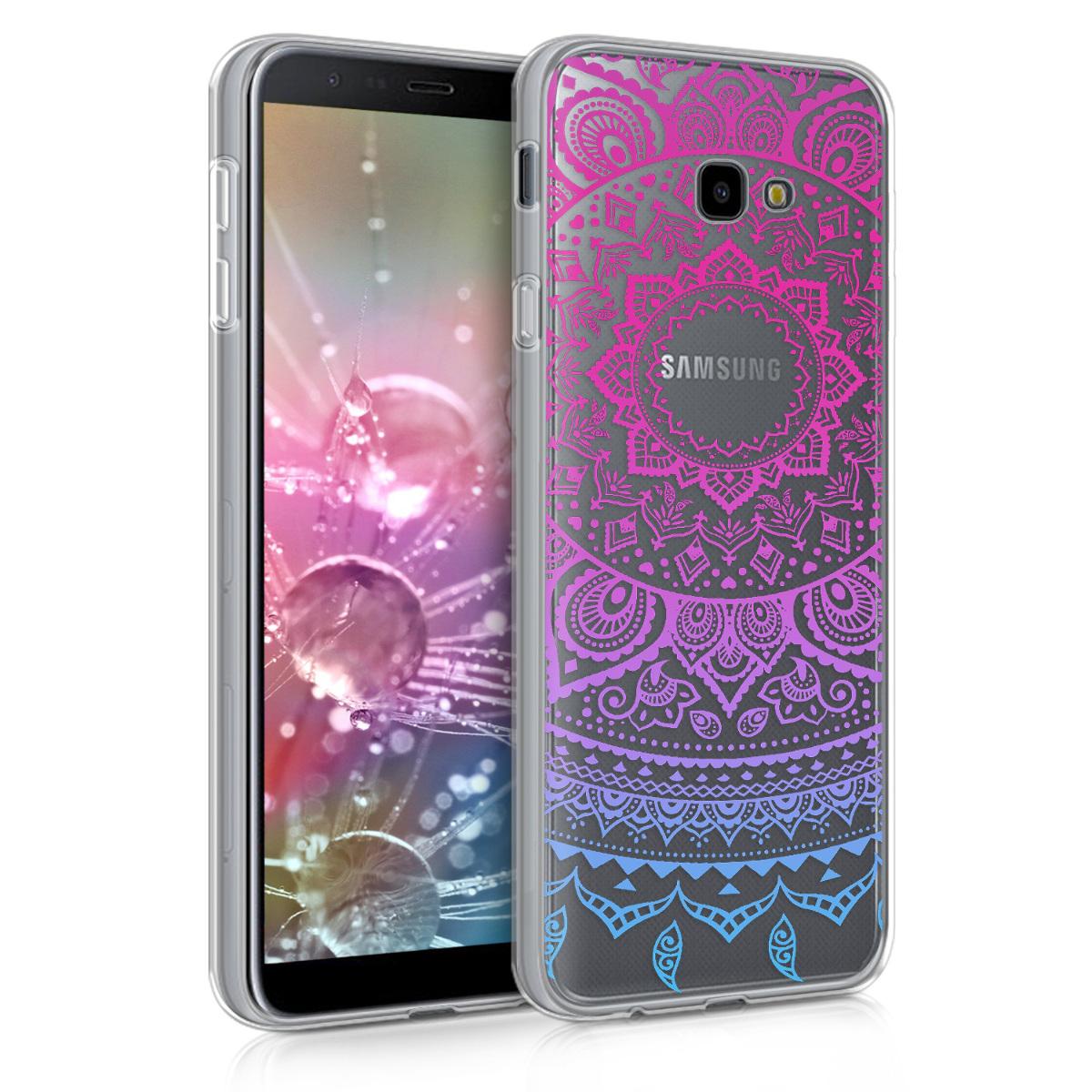 Kvalitní silikonové TPU pouzdro pro Samsung J4+ | J4 Plus DUOS - indické slunce modré / tmavě růžová / transparentní