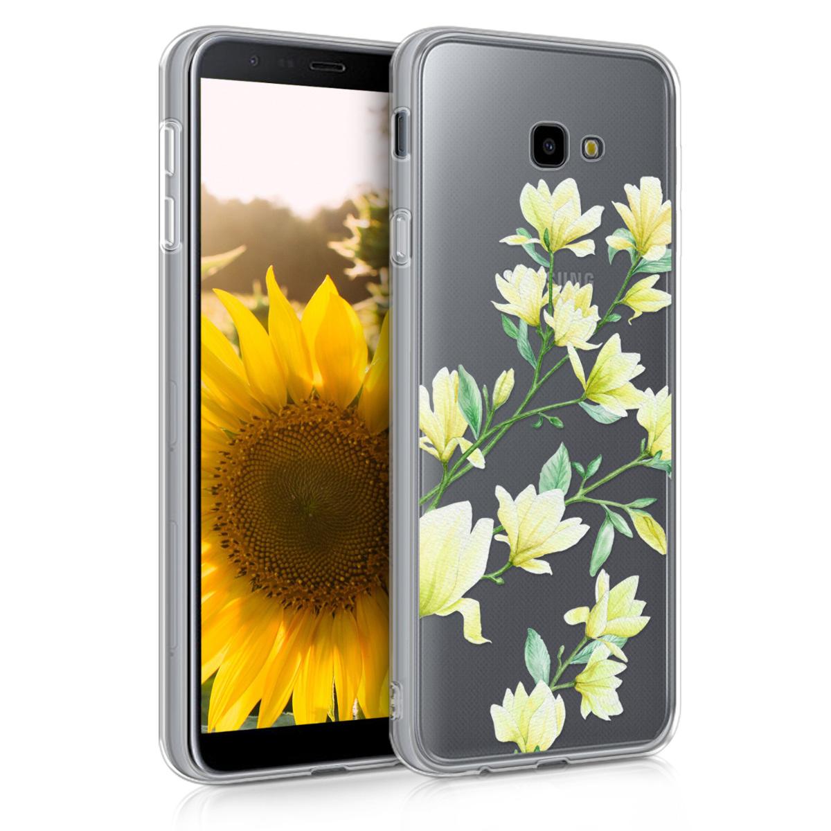 Kvalitní silikonové TPU pouzdro pro Samsung J4+ | J4 Plus DUOS - Magnólie žluté / zelené / transparentní