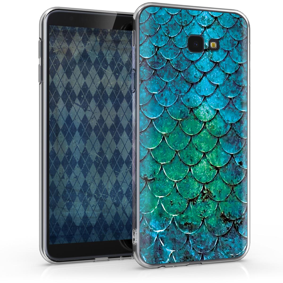 Kvalitní silikonové TPU pouzdro pro Samsung J4+ | J4 Plus DUOS - Mermaid Váhy tyrkysová / modrý / zelený